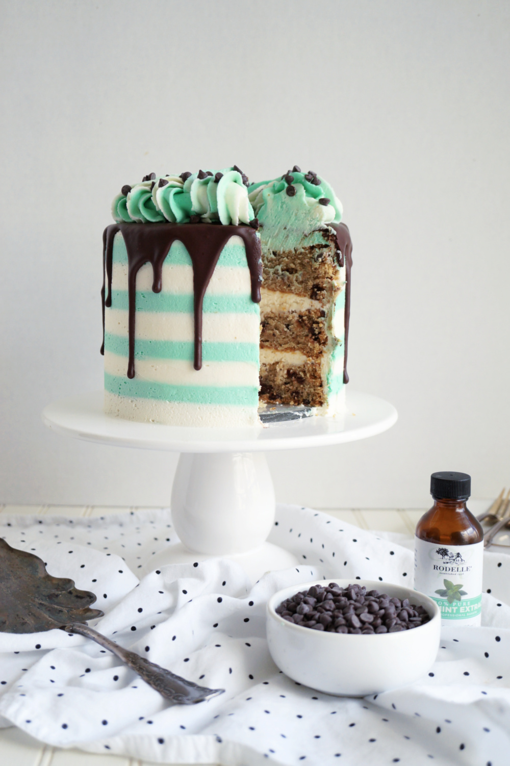 mint chip cake with slice cut