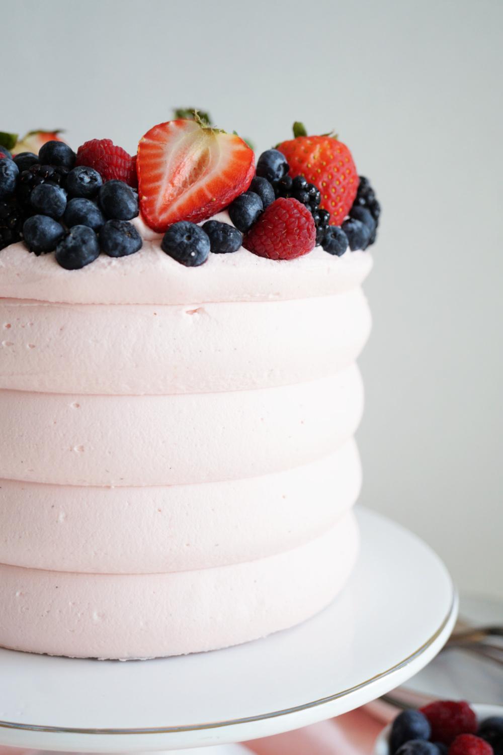 side shot of wild berry cake