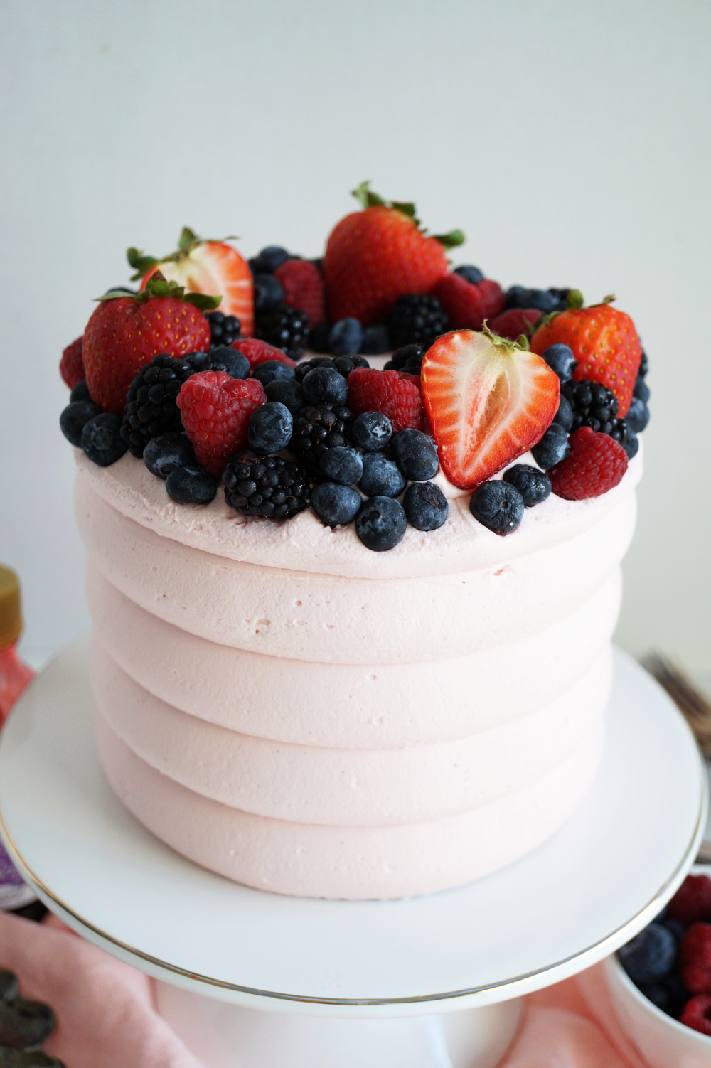 top view of mixed berry cake
