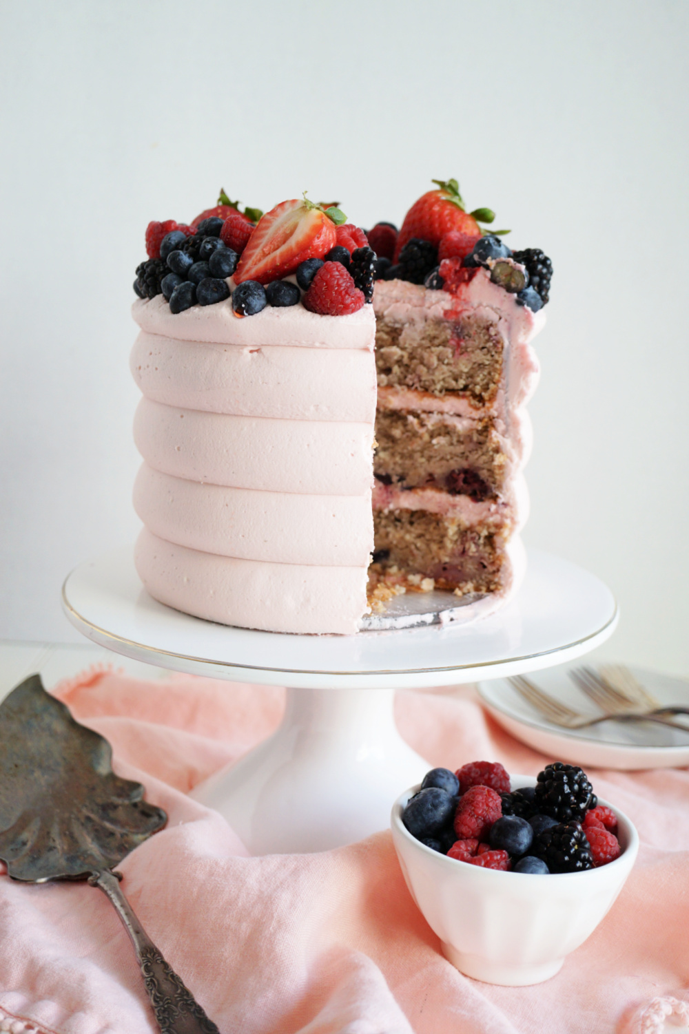 cake with slice cut out