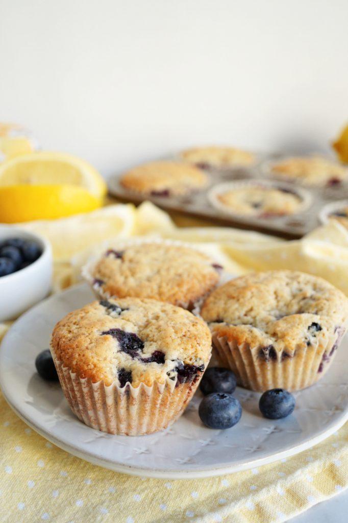 lemon blueberry muffins on plate