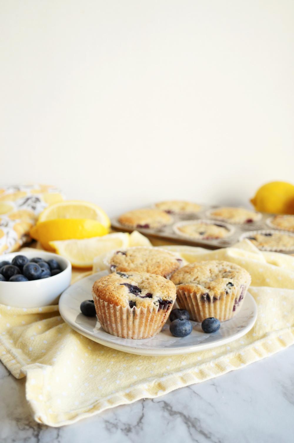 three muffins on plate