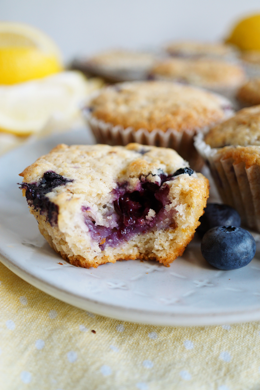 lemon blueberry muffin with bite