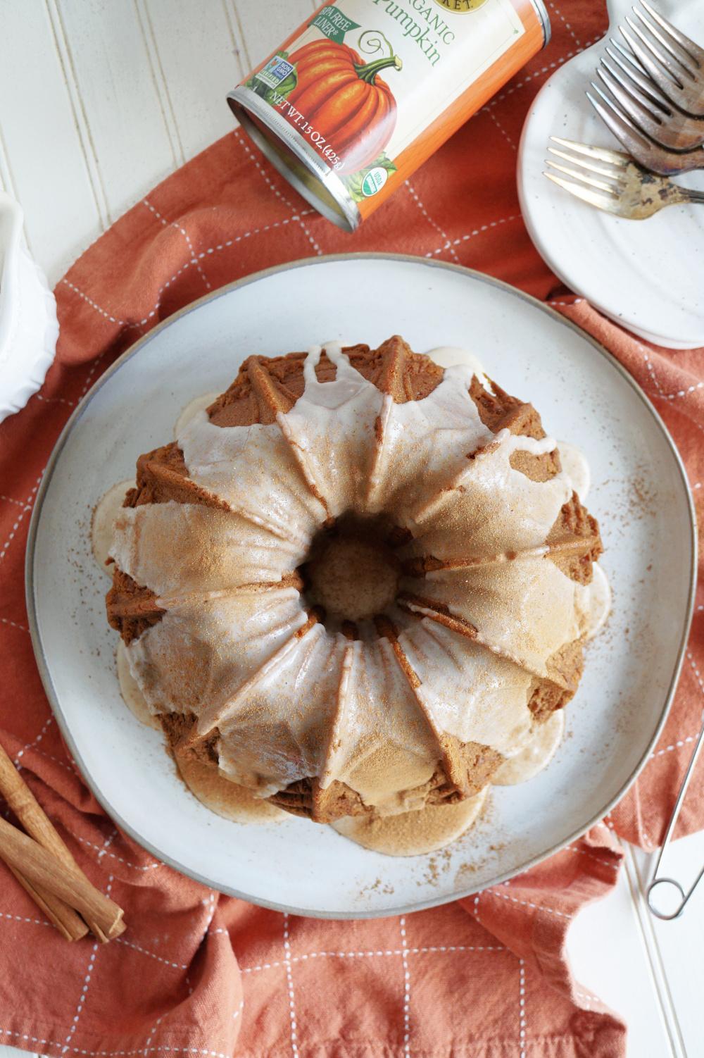 overhead shot of bundt cake on plate